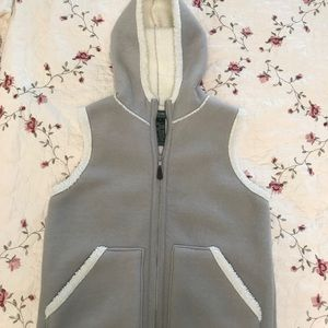 Grey Shearling (faux) Hooded Vest - Ralph Lauren